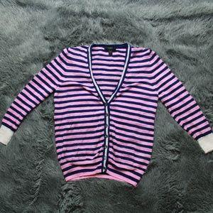 J. Crew Sweater Cardigan Button Up Stripe Varsity